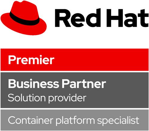 Logo Red Hat Premier Business Partner - Container platform specialist